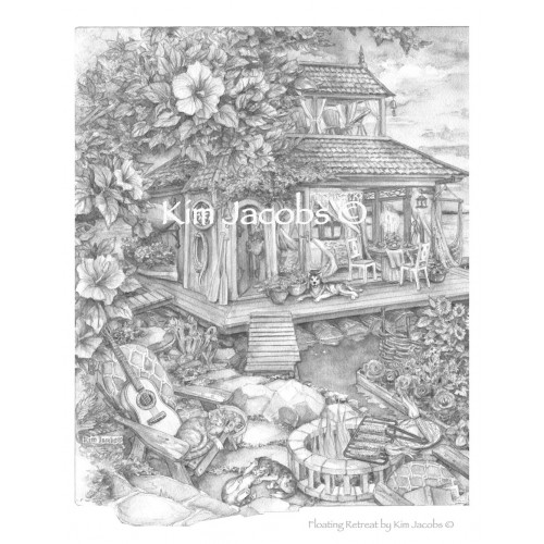 Coloring Page PDF to Download- FLOATING RETREAT -Grayscale Image