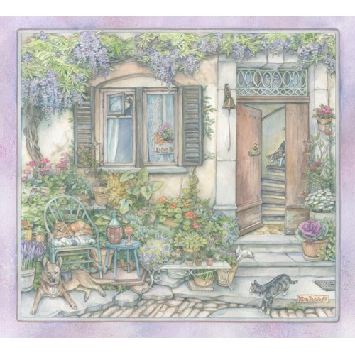 French Village Garden - Original Watercolor Painting