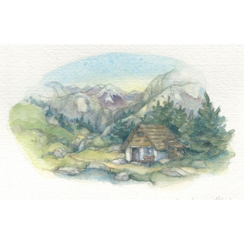 Miniature Painting - Mountain Cottage